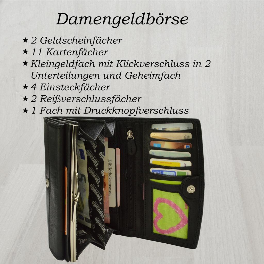 flevado Damen Leder Geldbörse RFID Schutz Portemonnaie in Schwarz Nappa Leder